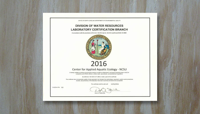 2016 DWR State Certification